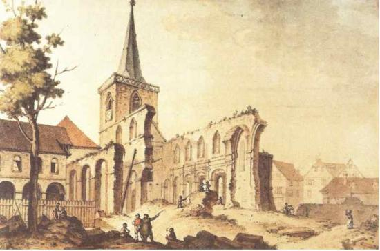 Destruction de l'abbatiale en 1802. (Henri Lebert)